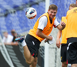 BALTIMORE, MD - Friday, July 27, 2012: Liverpool's captain Steven Gerrard during a training session ahead of the pre-season friendly match against Tottenham Hotspur at the M&T Bank Stadium. (Pic by David Rawcliffe/Propaganda)