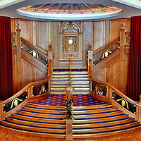 Titanic Grand Staircase Inside Titanic Belfast in Belfast, Northern Ireland<br />