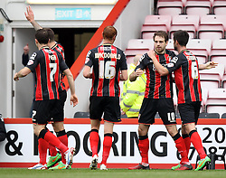Bournemouth's Brett Pitman celebrates his second goal - Photo mandatory by-line: Robbie Stephenson/JMP - Mobile: 07966 386802 - 14/03/2015 - SPORT - Football - Bournemouth - Dean Court - AFC Bournemouth v Blackpool - Sky Bet Championship