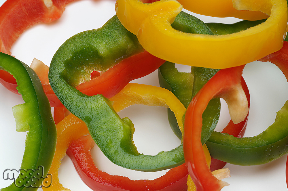 Sliced bell peppers, close-up