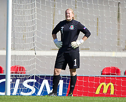 LLANELLI, WALES - Thursday, August 22, 2013: Wales' goalkeeper Alice Evans looks dejected as England score the second goal during the Group A match of the UEFA Women's Under-19 Championship Wales 2013 tournament at Parc y Scarlets. (Pic by David Rawcliffe/Propaganda)