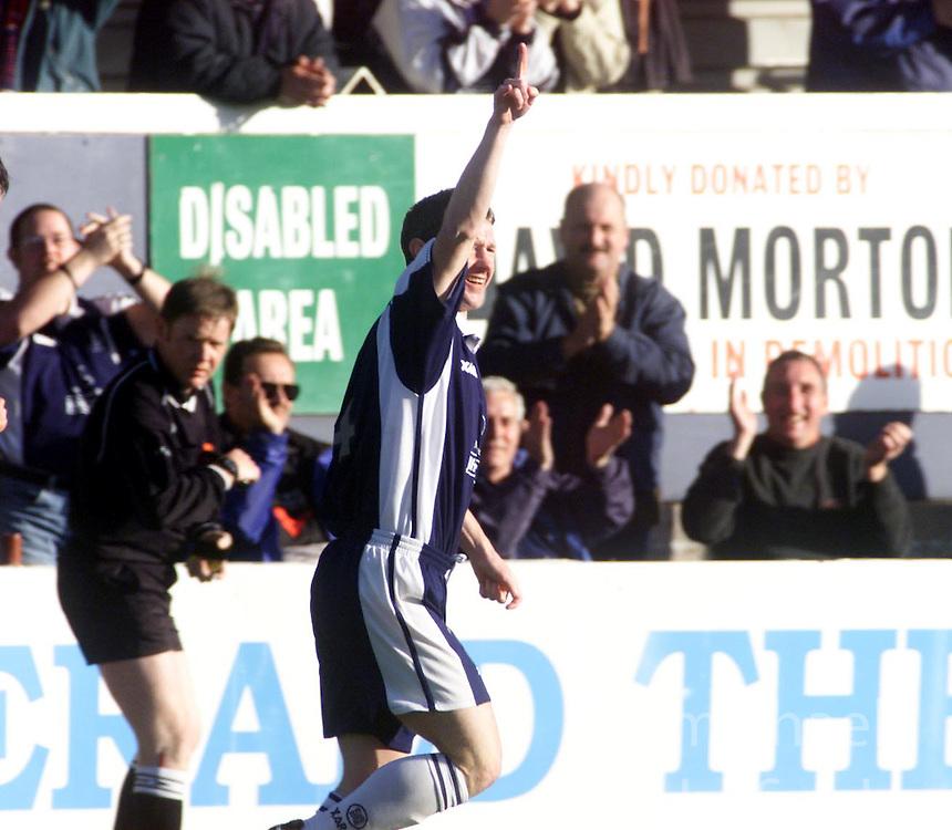 Kevin McAllister celebrates after scoring their second goal, Falkirk v Clyde, 2000..