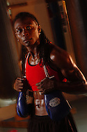 Hillsborough, Tampa, Fl. 3/29/2005--BOXING-- Chevelle Hallback, 33, of Plant City in the Hurricane Boxing Gym in Ybor City.  PHOTOS 1 OF IMAGES STAFF MS