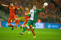 BRUSSELS, BELGIUM - Tuesday, October 15, 2013: Wales' Simon Church in action against Belgium during the 2014 FIFA World Cup Brazil Qualifying Group A match at the Koning Boudewijnstadion. (Pic by David Rawcliffe/Propaganda)