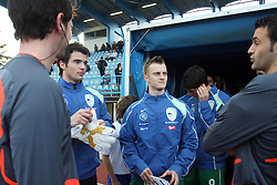 Goalkeeper of Slovenia Jan Koprivec, Rene Mihelic (10)  of Slovenia with referees before Friendly match between U-21 National teams of Slovenia and Romania, on February 11, 2009, in Nova Gorica, Slovenia. (Photo by Vid Ponikvar / Sportida)
