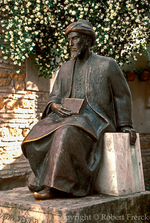SPAIN, ANDALUSIA, CORDOBA the Jewish Quarter; statue of Maimonides, Spain's most famous Jewish writer and medieval philosopher