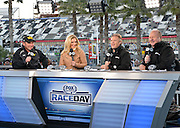 Fox Sports broadcast teams, reporters, and coverage of Nascar at the Daytona International Speedway.