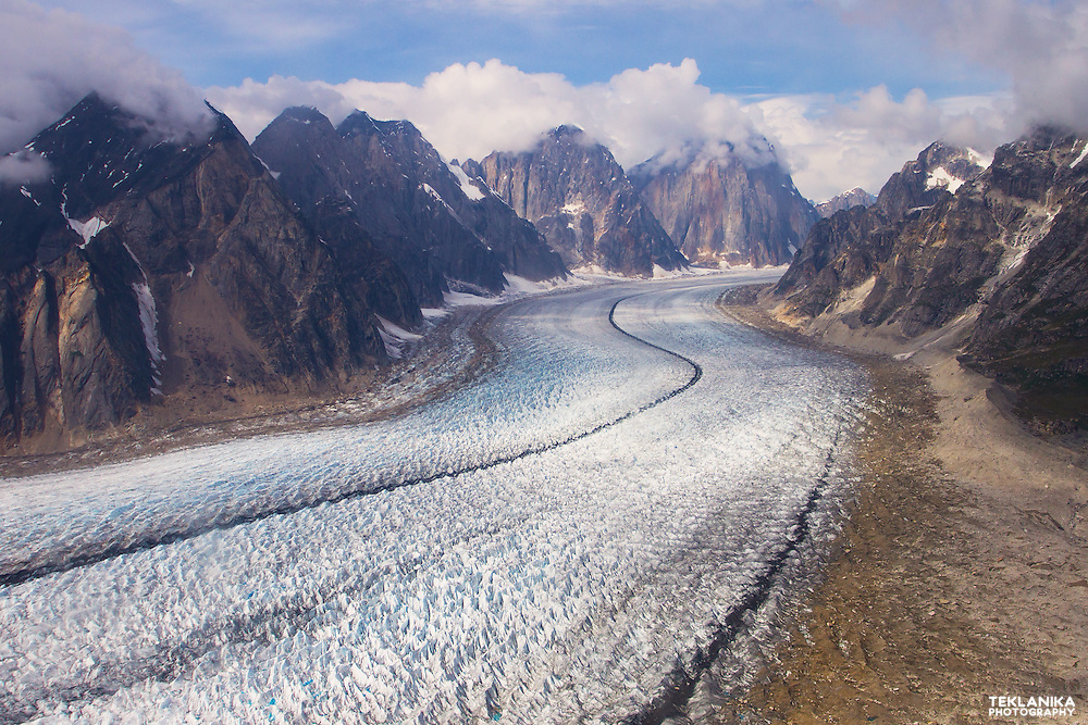 A view of the massive Ruth Glacier as seen from above the Ruth Gorge.