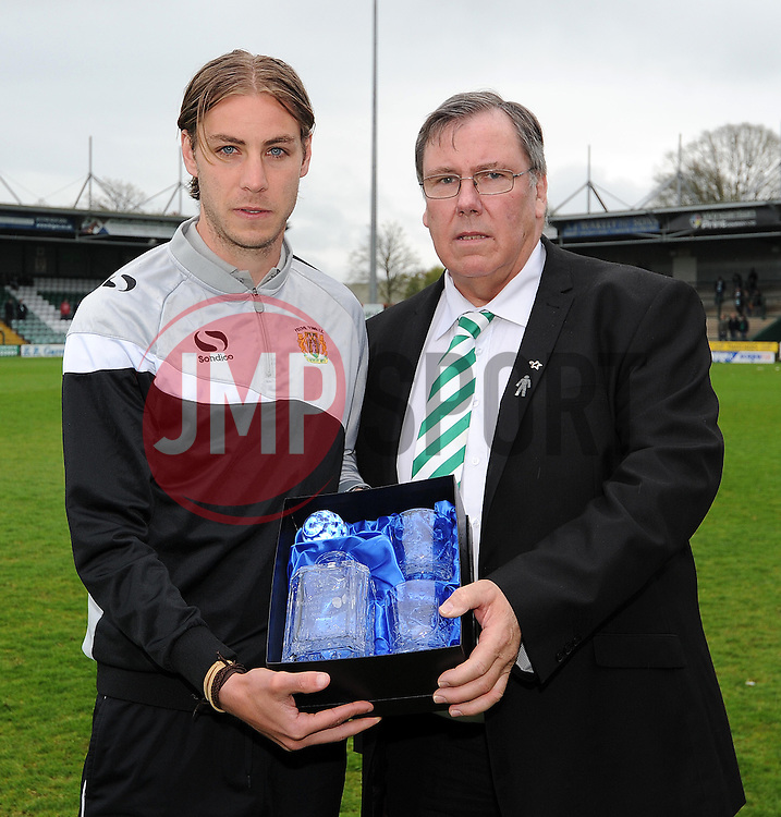 Yeovil Town's Sam Foley poses with one of his awards- Photo mandatory by-line: Harry Trump/JMP - Mobile: 07966 386802 - 25/04/15 - SPORT - FOOTBALL - Sky Bet League One - Yeovil Town v Port Vale - Huish Park, Yeovil, England.