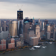 Aerial view of Lower Manhattan with the One World Trade Center tower under construction, November 10th 2011.