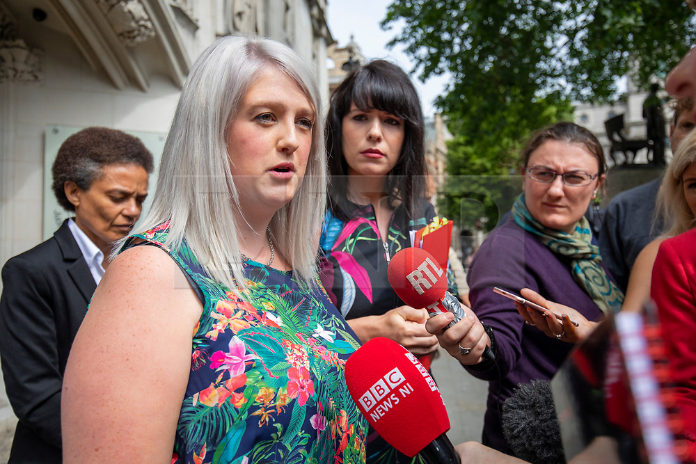 © Licensed to London News Pictures. 07/06/2018. London, UK. Sarah Ewart, a Northern Ireland resident and abortion campaigner, speaks to media outside the Supreme Court after the court said it could not rule on an appeal against Northern Ireland's strict abortion laws, but that it would have declared them incompatible with human rights laws otherwise. Photo credit: Rob Pinney/LNP