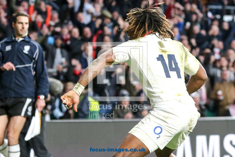 Marland Yarde of England celebrates scoring a try during the Old Mutual Wealth Internationals match at Twickenham Stadium, Twickenham<br /> Picture by Mark Chappell/Focus Images Ltd +44 77927 63340<br /> 03/12/2016
