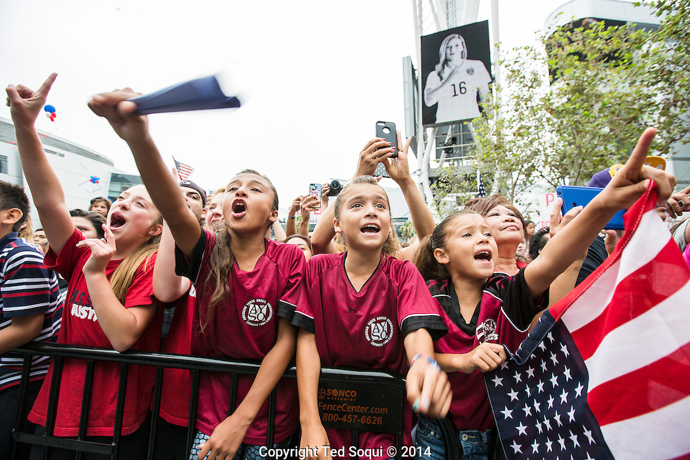 Team USA Women's National Soccer Team celebrating their 2015 FIFA World Cup win in downtown Los Angeles. Thousands of fans showed up for the rally to meet and see the soccer players.