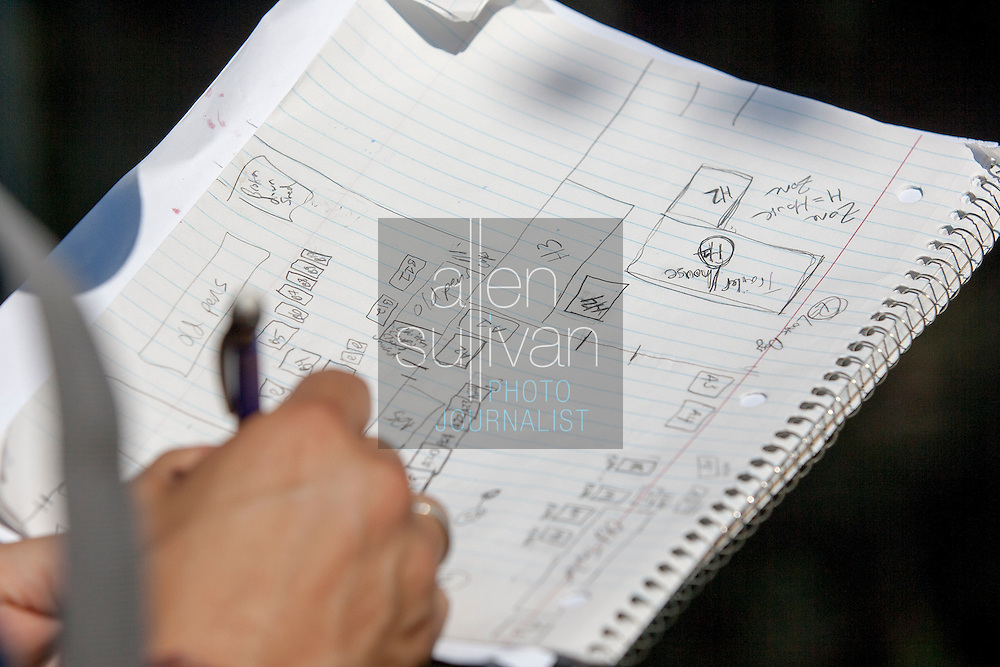 A property map is drawn during a raid on a puppy mill in Johnston, SC on Tuesday, Sept. 11, 2012. HSUS workers found over 200 dogs, nine horses and 30-40 fowl.