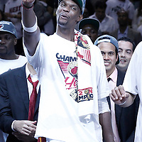 21 June 2012: Miami Heat power forward Chris Bosh (1) celebrates after the Miami Heat 121-106 victory over the Oklahoma City Thunder, in Game 5 of the 2012 NBA Finals, at the AmericanAirlinesArena, Miami, Florida, USA. The Miami Heat wins the series 4-1.