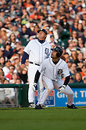 May 2, 2009:    #14 Placido Polanco of the  Detroit Tigers and Tiger 3rd base coach Gene Lamont look at a pop fly in action during the MLB game between Cleveland Indians and Detroit Tigers at Comerica Park, Detroit, Michigan.  Tiger defeated the Indiands9-7. (Credit Image: Rick Osentoski/Cal Sport Media)