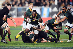 South Africa's Tendai Mtawarira, centre, makes a break against New Zealand in the Investic Championship rugby test match at QBE Stadium, Albany, Auckland New Zealand, Saturday, September 16, 2017. Credit:SNPA / Ross Setford** NO ARCHIVING**