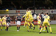 Hearts&rsquo; Callum Paterson heads into his own net to gift Dundee an injury time winner Dundee v Hearts in the Ladbrokes Scottish Premiership at Dens Park, Dundee. Photo: David Young<br /> <br />  - &copy; David Young - www.davidyoungphoto.co.uk - email: davidyoungphoto@gmail.com