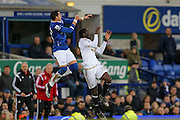 Swansea City forward Eder challenges Everton defender Ramiro Funes Mori   during the Barclays Premier League match between Everton and Swansea City at Goodison Park, Liverpool, England on 24 January 2016. Photo by Simon Davies.