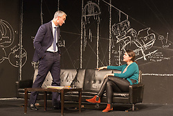 "© Licensed to London News Pictures. 24/09/2014. London, England. Pictured: Ingo Hülsmann as Member of the City Council and Eva Meckbach as Mrs Stockmann. German theatre company Schaubühne Berlin present an adaptation of ""An Enemy of the People"" by Henrik Ibsen at the Barbican Theatre, Barbican Centre, from 24-28 September 2014. The play is directed by Thomas Ostermeier and part of the International Ibsen Season. Photo credit: Bettina Strenske/LNP"