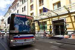 Bus of Slovenian basketball team at arrival from a friendly tournament in Spain, on August 9, 2010 at City Hotel, Ljubljana, Slovenia. (Photo by Vid Ponikvar / Sportida)