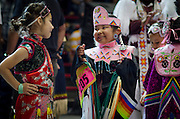 Young dancers take to the floor during their respective categories as part of the 31st annual Gathering of Nations Powwow, Albuquerque, New Mexico.