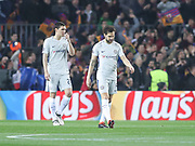 Chelsea's Cesc Fabregas and Chelsea's Andreas Christensen disappointed during the Champions League match between Barcelona and Chelsea at Camp Nou, Barcelona, Spain on 14 March 2018. Picture by Ahmad Morra.