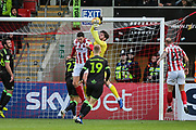 Forest Green Rovers goalkeeper James Montgomery catches a cross during the EFL Sky Bet League 2 match between Cheltenham Town and Forest Green Rovers at Jonny Rocks Stadium, Cheltenham, England on 29 December 2018.