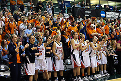 20 March 2010: The Hope bench and fans react to play on the court. The Flying Dutch of Hope College fall to the Bears of Washington University 65-59 in the Championship Game of the Division 3 Women's NCAA Basketball Championship the at the Shirk Center at Illinois Wesleyan in Bloomington Illinois.