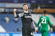 Scott Malone of Derby County (46) celebrates the win during the EFL Sky Bet Championship match between Huddersfield Town and Derby County at the John Smiths Stadium, Huddersfield, England on 5 August 2019.