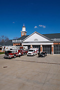Independence Magazine cover photo of the new fire house with Fire Chief Peter Nelson and Police Chief John Nicastro.