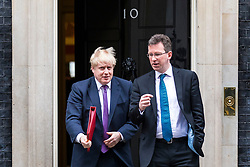 © Licensed to London News Pictures. 20/02/2018. London, UK. Foreign Secretary Boris Johnson (L) and Attorney General Jeremy Wright (R) leave 10 Downing Street after the weekly Cabinet meeting. Photo credit: Rob Pinney/LNP
