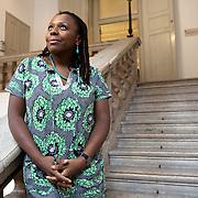 Ferrara, Italy, October 6, 2013. Lola Shoneyin, Nigerian writer, poet and Executive Director of Ake Arts and Book Festival in Abeokuta, southwest Nigeria.