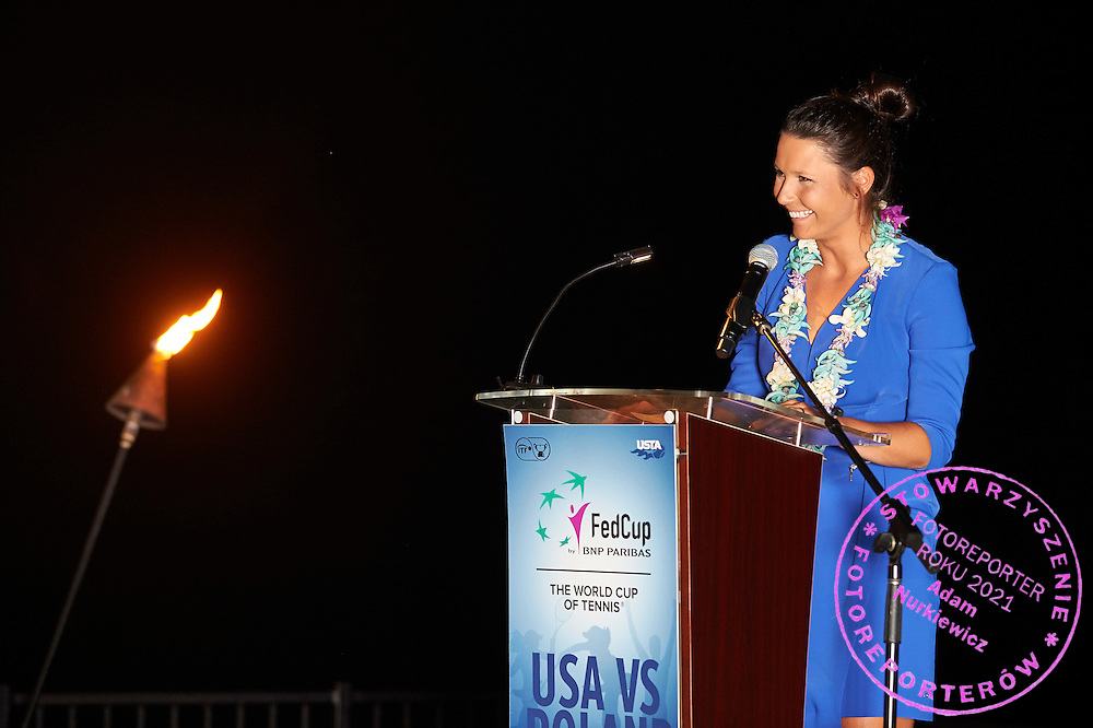 KAILUA KONA, USA - 2016 FEBRUARY 04: Klaudia Jans - Ignacik of Poland speaks while official dinner on two days before the Fed Cup World Group II 1st round tennis match between USA and Poland on February 04, 2016 at Holua Tennis Center in Kailua Kona, USA.<br /> <br /> Picture also available in RAW (NEF) or TIFF format on special request.<br /> <br /> Any editorial, commercial or promotional use requires written permission from the author of image.<br /> <br /> Adam Nurkiewicz declares that he has no rights to the image of people at the photographs of his authorship.<br /> <br /> Mandatory credit:<br /> Photo by &copy; Adam Nurkiewicz / Mediasport