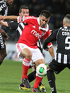 Portugal, FUNCHAL : Benfica's Argentine midfielder Salvio (L )  vies withNacional´s Brazilian defender Marçal (r) during Portuguese League football match Nacional vs Benfica at Madeira Stadium in Funchal on February 10, 2013. PHOTO/ GREGORIO CUNHA..