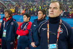 Head coach of Chile Marcelo Bielsa during the 2010 FIFA World Cup South Africa Round of Sixteen match between Brazil and Chile at Ellis Park Stadium on June 28, 2010 in Johannesburg, South Africa. Brazil defeated Mexico 3-0 and qualified for quarterfinals.  (Photo by Vid Ponikvar / Sportida)