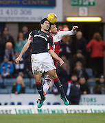 Dundee's Julen Etxabeguren and Rangers' Joe Garner compete in the air - Dundee v Rangers in the Ladbrokes Scottish Premiership at Dens Park, Dundee.Photo: David Young<br /> <br />  - © David Young - www.davidyoungphoto.co.uk - email: davidyoungphoto@gmail.com