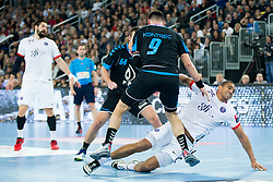 Kontrec #9 of PPD Zagreb and Daniel Narcisse #25 of Paris Sant-Germain during handball match between PPD Zagreb (CRO) and Paris Saint-Germain (FRA) in 11th Round of Group Phase of EHF Champions League 2015/16, on February 10, 2016 in Arena Zagreb, Zagreb, Croatia. Photo by Urban Urbanc / Sportida