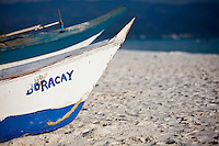 Fishing boat  named Boracay, on White Sand Beach, boracay island, Philippines.