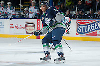 KELOWNA, CANADA -FEBRUARY 10: Calvin Spencer #6 of the Seattle Thunderbirds skates against the Kelowna Rockets on February 10, 2014 at Prospera Place in Kelowna, British Columbia, Canada.   (Photo by Marissa Baecker/Getty Images)  *** Local Caption *** Calvin Spencer;
