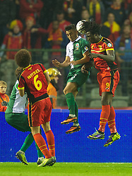 BRUSSELS, BELGIUM - Tuesday, October 15, 2013: Wales' Neil Taylor in action against Belgium's Romelu Lukaku during the 2014 FIFA World Cup Brazil Qualifying Group A match at the Koning Boudewijnstadion. (Pic by David Rawcliffe/Propaganda)