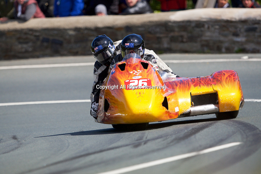 08.06.2015. Douglas, Isle of Man. 2015 Isle of Man TT Races. * in action during the TT Sidecar race.