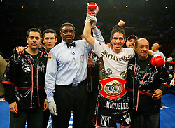April 12, 2008; Atlantic City, NJ, USA;  Antonio Margarito celebrates after defeating Kermit Cintron to capture the IBF Welterweight Championship at Boardwalk Hall in Atlantic City, NJ.  Margarito won via 6th round KO.
