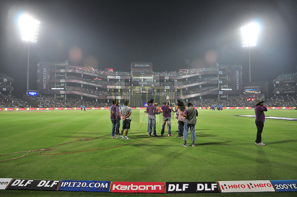 Camera crew on ground during match 51 of the the Indian Premier League ( IPL) 2012  between The Delhi Daredevils and the Kolkata Knight Riders held at the Feroz Shah Kotla, Delhi on the 7th May 2012..Photo by Arjun Panwar/IPL/SPORTZPICS