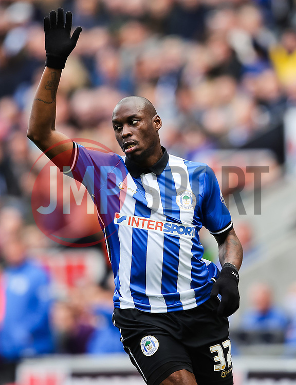 Marc-Antoine Fortune of Wigan Athletic appeals to the referee - Photo mandatory by-line: Matt McNulty/JMP - Mobile: 07966 386802 - 06/04/2015 - SPORT - Football - Wigan - DW Stadium - Wigan Athletic v Derby County - SkyBet Championship