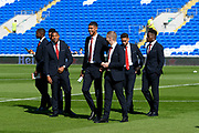 Middlesbrough players walking on the pitch ahead of the EFL Sky Bet Championship match between Cardiff City and Middlesbrough at the Cardiff City Stadium, Cardiff, Wales on 21 September 2019.