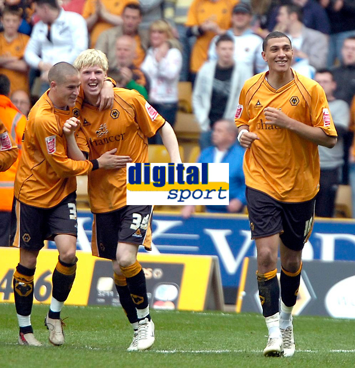 Photo: Ed Godden/Sportsbeat Images.<br />Wolverhampton Wanderers v Hull City. Coca Cola Championship. 09/04/2007. Wolves' players celebrate with Jay Bothroyd (R), after he scores the 3rd goal.
