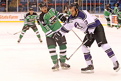 15 November 2013: Bret Peppler & Patrick Schafer. Louisiana IceGators at Bloomington Thunder Southern Professional Hockey League (SPHL) at the U.S. Cellular Coliseum in Bloomington Illinois