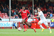 Crawley Town Defender Chris Arthur battles with Luton Town Forward Jack Marriott during the EFL Sky Bet League 2 match between Crawley Town and Luton Town at the Checkatrade.com Stadium, Crawley, England on 17 September 2016. Photo by Phil Duncan.
