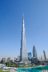 View of Burj Khalifa skyscraper in Downtown Dubai United Arab Emirates